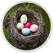 Bird's Nest With Easter Eggs Round Beach Towel