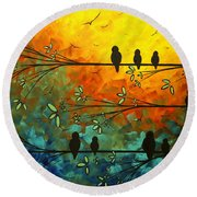 Birds Of A Feather Original Whimsical Painting Round Beach Towel by Megan Duncanson