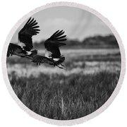 Birds Of The Wetlands V12 Round Beach Towel
