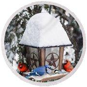 Birds On Bird Feeder In Winter Round Beach Towel