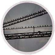 Birds On Crane Round Beach Towel