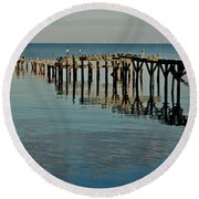 Birds On Old Dock On The Bay Round Beach Towel