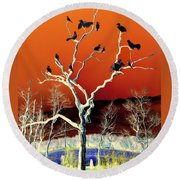 Birds On Tree Round Beach Towel