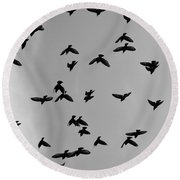 Birds That Knew Round Beach Towel