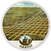 Birdseye View Of Austin Minnesota 1870 Round Beach Towel