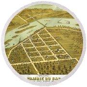 Birdseye View Of Prairie Du Sac Wisconsin 1870 Round Beach Towel