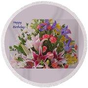 Birthday Bouquet Card Round Beach Towel
