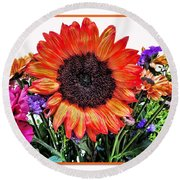 Birthday Bouquet Round Beach Towel