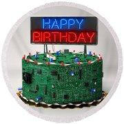 Birthday Cake For Geeks Round Beach Towel