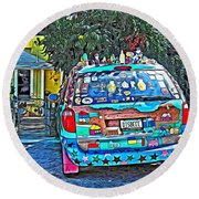 Bisbee Arizona Art Car Round Beach Towel