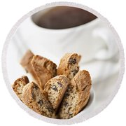 Biscotti And Coffee Round Beach Towel