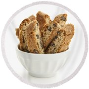 Biscotti Cookies In Bowl Round Beach Towel