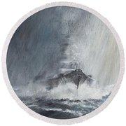 Bismarck Through Curtains Of Rain Round Beach Towel