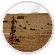 Bison And Windmill Round Beach Towel