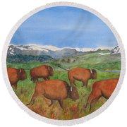 Bison At Yellowstone Round Beach Towel