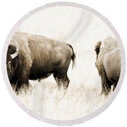 Bison II Round Beach Towel