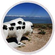 Bison Sculpture Great Salt Lake Utah Round Beach Towel