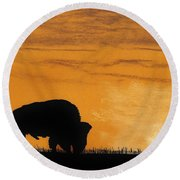Bison Sunset Round Beach Towel