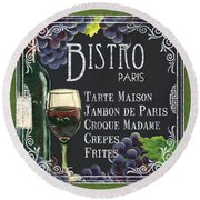 Bistro Paris Round Beach Towel by Debbie DeWitt