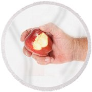 Bite Out Of An Apple Round Beach Towel