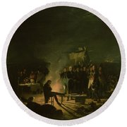 Bivouac Of Napoleon I 1769-1821 On The Battlefield Of The Battle Of Wagram, 5th-6th July 1809, 1810 Round Beach Towel