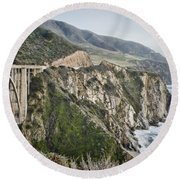 Bixby Bridge Vista Round Beach Towel