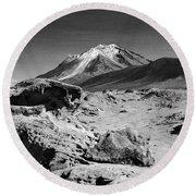 Bizarre Landscape Bolivia Black And White Round Beach Towel