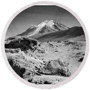 Bizarre Landscape Bolivia Black And White Select Focus Round Beach Towel