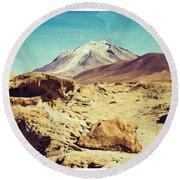 Bizarre Landscape Bolivia Old Postcard Round Beach Towel