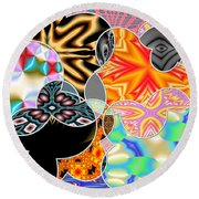 Bizzarro Colorful Psychedelic Floral Abstract Round Beach Towel