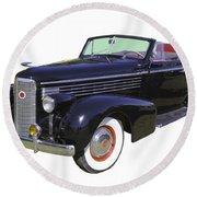Black 1938 Cadillac Lasalle Round Beach Towel