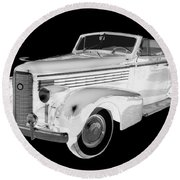 Black An White 1938 Cadillac Lasalle Pop Art Round Beach Towel
