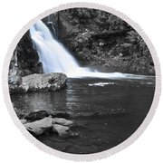 Black And Color Waterfall Round Beach Towel