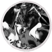 Black And Indeed White Round Beach Towel