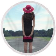 Black And Red Round Beach Towel by Joana Kruse
