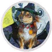 Black And Tan Chihuahua - Such A Good Little Witch Round Beach Towel