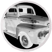 Black And White 1951 Ford F-1 Pickup Truck  Round Beach Towel