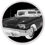 Black And White 1958  Ford Thunderbird  Car Pop Art Round Beach Towel