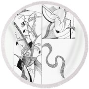 Black And White Abstract #2 Round Beach Towel