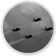 Black And White And Blue Angels 2 Round Beach Towel