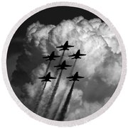 Black And White And Blue Angels Round Beach Towel