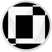 Black And White Art - 128 Round Beach Towel