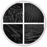 Black And White Beach Round Beach Towel