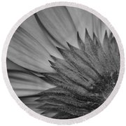 Black And White Blossom Round Beach Towel
