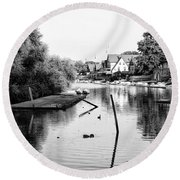 Black And White - Boathouse Row Round Beach Towel