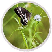 Black And White Butterfly V3 Round Beach Towel
