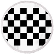 Black And White Checkered Flag Round Beach Towel
