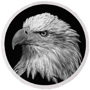 Black And White Eagle Round Beach Towel
