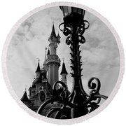 Black And White Fairy Tale Round Beach Towel