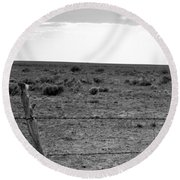 Black And White Fence  Round Beach Towel